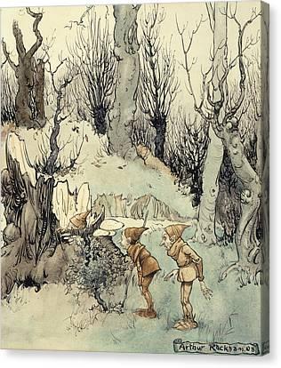 Elves In A Wood Canvas Print by Arthur Rackham
