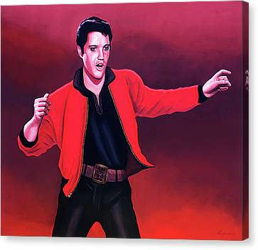Elvis Presley 4 Painting Canvas Print by Paul Meijering