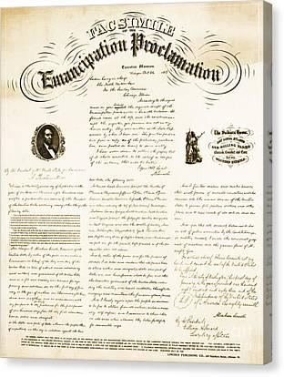 Emancipation Proclamation Canvas Print by Photo Researchers