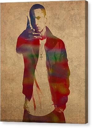 Eminem Watercolor Portrait Canvas Print by Design Turnpike