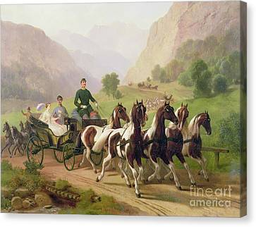 Emperor Franz Joseph I Of Austria Being Driven In His Carriage With His Wife Elizabeth Of Bavaria I Canvas Print by Austrian School