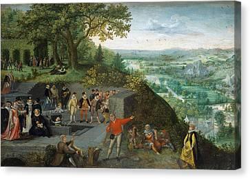 Emperor Rudolf II Taking A Drinking Cure Canvas Print by Lucas van Valckenborch
