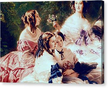 Empress Eugenie And Her Ladies In Waiting Canvas Print by Franz Xaver Winterhalter