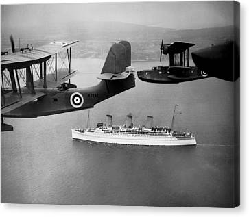 Empress Of Britain Escorted Canvas Print by Underwood Archives