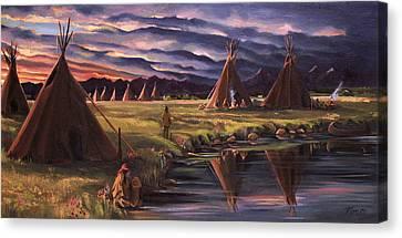 Encampment At Dusk Canvas Print by Nancy Griswold