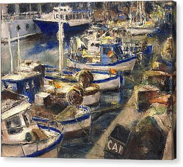 End Of The Day Fishing Boats Genoa Canvas Print by Randy Sprout