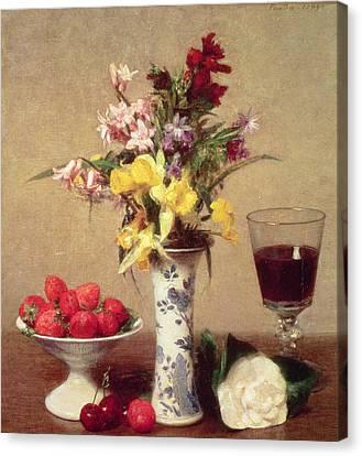 Engagement Bouquet Canvas Print by Ignace Henri Jean Fantin-Latour