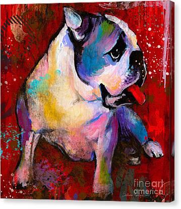 English American Pop Art Bulldog Print Painting Canvas Print by Svetlana Novikova