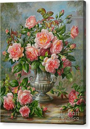 English Elegance Roses In A Silver Vase Canvas Print by Albert Williams