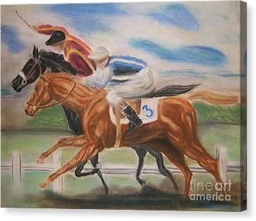 English Horse Race Canvas Print by Nancy Rucker