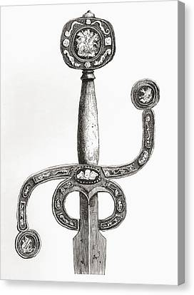 English Sword, C. 1580, With Very Rare Canvas Print by Vintage Design Pics