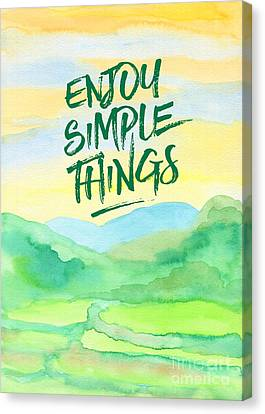 Enjoy Simple Things Rice Paddies Watercolor Painting Canvas Print by Beverly Claire Kaiya