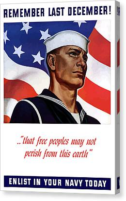 Enlist In Your Navy Today - Ww2 Canvas Print by War Is Hell Store
