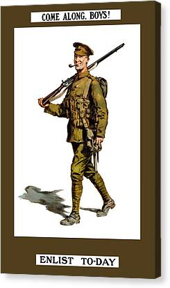 Enlist To-day - World War 1 Canvas Print by War Is Hell Store