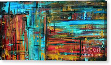 Enormous 3x5 Abstract Art Huge Original Contemporary Painting Into Autumn By Madart Canvas Print by Megan Duncanson