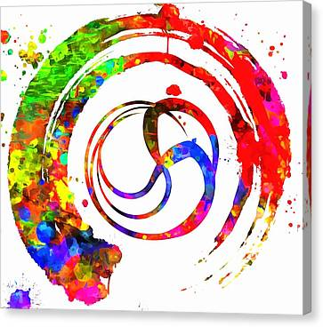 Enso Colorful Paint Circle Canvas Print by Dan Sproul
