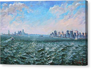 Entering In New York Harbor Canvas Print by Ylli Haruni