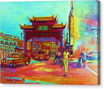 Entrance To Chinatown Canvas Print by Carole Spandau