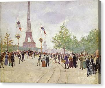 Entrance To The Exposition Universelle Canvas Print by Jean Beraud