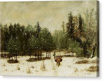 Entrance To The Forest In Winter Canvas Print by Cherubino Pata