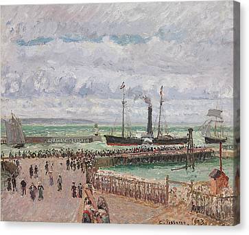 Entrance To The Port Of Le Havre And The West Breakwaters Canvas Print by Camille Pissarro