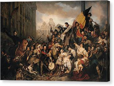 Episode Of The September Days 1830 On The Grand Place Of Brussels Canvas Print by Egide Charles Gustave Wappers