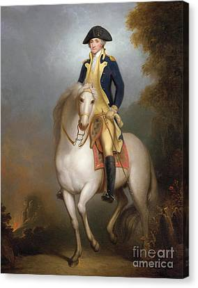 Equestrian Portrait Of George Washington Canvas Print by Rembrandt Peale