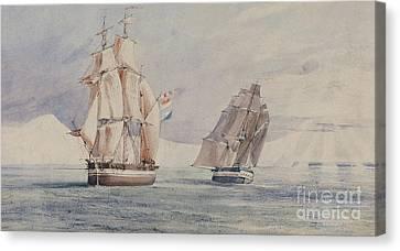 Erebus And Terror In The Ross Sea Canvas Print by John Edward Davis