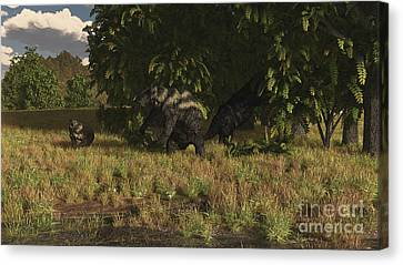 Eremotherium Approaches A Pair Canvas Print by Arthur Dorety