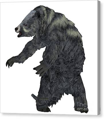 Eremotherium Sloth On White Canvas Print by Corey Ford
