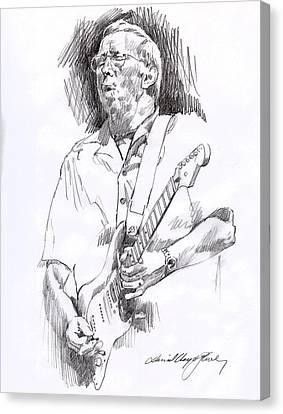 Eric Clapton Blue Canvas Print by David Lloyd Glover