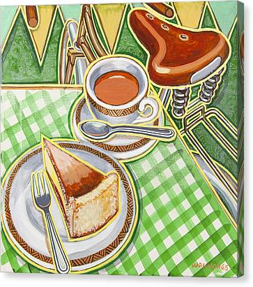 Eroica Britannia Bakewell Pudding And Cup Of Tea On Green Canvas Print by Mark Howard Jones