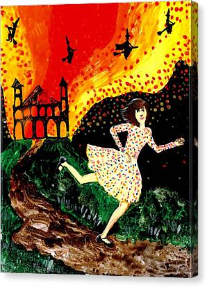 Escape From The Burning House Canvas Print by Sushila Burgess