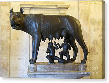 Etruscan Bronze Statue Of The She-wolf With Romulus And Remus. Capitoline Museum. Capitoline Hill. R Canvas Print by Bernard Jaubert