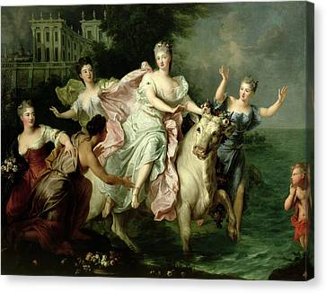Europa Being Carried Off By Jupiter Metamorphosed Into A Bull Canvas Print by Pierre Gobert