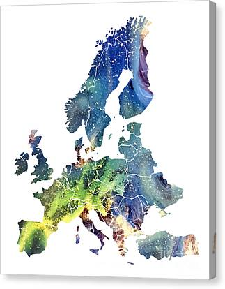 Europe Map Cosmic Watercolor Canvas Print by Justyna JBJart