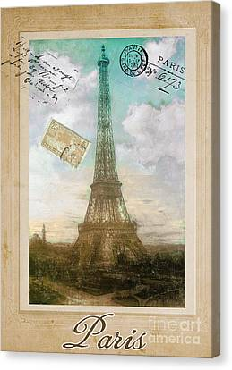 European Vacation Postcard Paris Canvas Print by Mindy Sommers