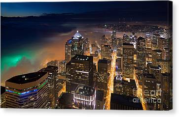 Eve Of The Superbowl In Seattle Canvas Print by Mike Reid