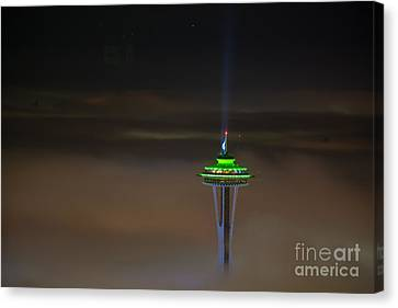 Eve Of The Superbowl Space Needle Canvas Print by Mike Reid