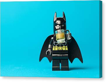 Even Batman Needs A Beer Canvas Print by Samuel Whitton