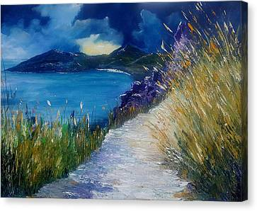 Evening At Keem Bay Co Mayo Canvas Print by Conor Murphy