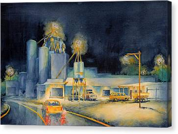 Evening At Lindner Feed And Mill Canvas Print by Virgil Carter