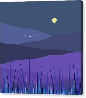 Evening Blue Moonshine Canvas Print by Val Arie