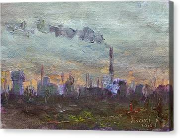 Evening By Industrial Site Canvas Print by Ylli Haruni