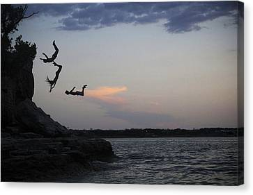 Evening Cliff Jump Canvas Print by Emily Olson