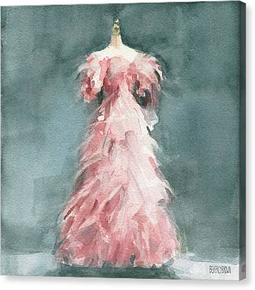 Evening Dress With Pink Feathers Canvas Print by Beverly Brown Prints