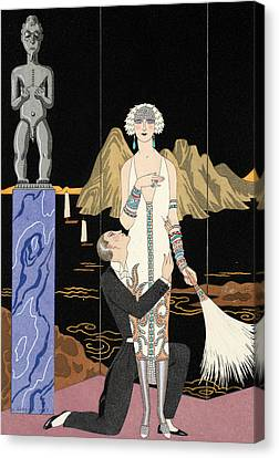 Evening Canvas Print by Georges Barbier
