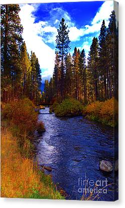Evening Hatch On The Metolius River Photograph Canvas Print by Diane E Berry