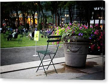 Evening In Bryant Park- Photography By Linda Woods Canvas Print by Linda Woods