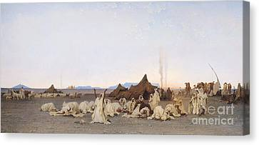 Evening Prayer In The Sahara Canvas Print by Gustave Guillaumet